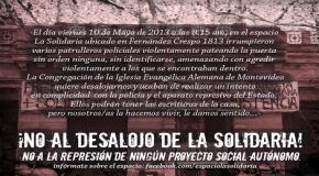 MONTEVIDEO, URUGUAY: NO AL DESALOJO DE LA SOLIDARIA