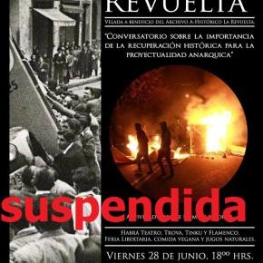 SANTIAGO, CHILE: SE SUSPENDE LA ACTIVIDAD MEMORIA PARA LA REVUELTA