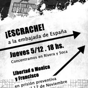MONTEVIDEO, URUGUAY: ESCRACHE A LA EMBAJADA DE ESPAÑA EN SOLIDARIDAD CON MÓNICA Y FRANCISCO