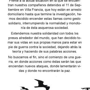 EL MONTE, CHILE: CORTE DE CALLE EN SOLIDARIDAD CON LXS DETENIDXS EL 11 DE SEPTIEMBRE EN VILLA FRANCIA