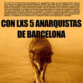 LLAMADO DE SOLIDARIDAD INTERNACIONAL CON LXS 5 ANARQUISTAS DE BARCELONA (16 AL 22 DE DICIEMBRE). LIBERTAD MÓNICA Y CARIÑOSO¡¡¡¡