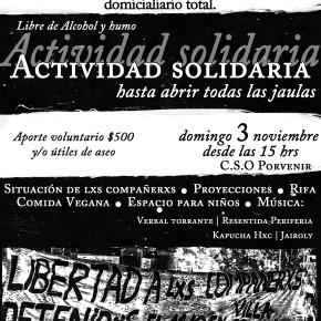 SANTIAGO, CHILE: ACTIVIDAD SOLIDARIA HASTA ABRIR TODAS LAS JAULAS